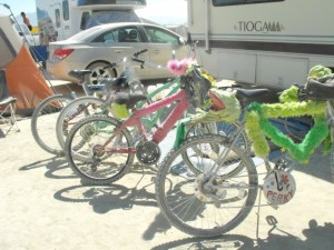 Our bikes ready for a day on the Playa.